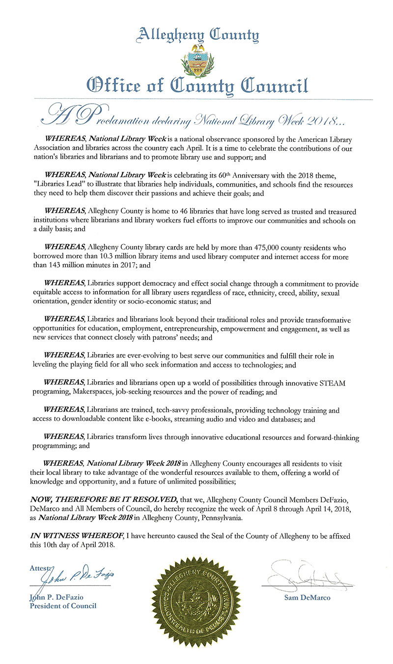 Allegheny County Council National Library Week 2018 Proclamation